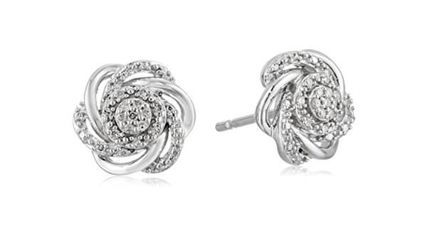 Flower Diamond Stud Earrings in 925 Sterling Silver