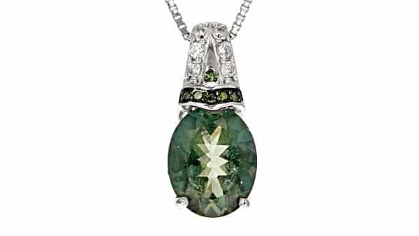 Green Labradorite and Diamond Pendant Necklace in Sterling Silver