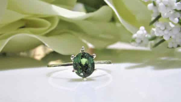 Bluish Green Sapphire Oval Solitaire Ring
