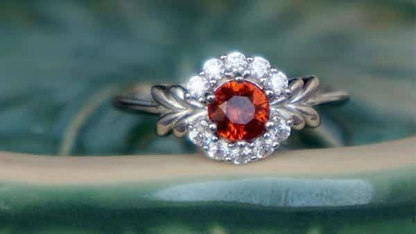 Halo Style Orange Spinel Ring in 925 Sterling Silver
