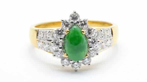 Yellow Gold Jade Diamond Wedding Ring