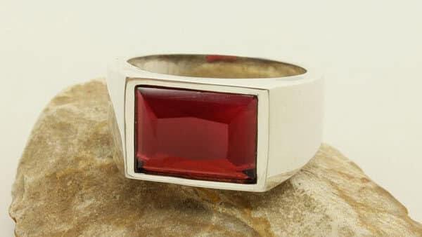 Lab-Created Red Beryl Ring