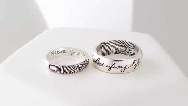 Actual Handwriting Ring • Personalized Gift for Him • Men's Wedding Band