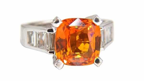 Orange Sapphire Diamond Ring