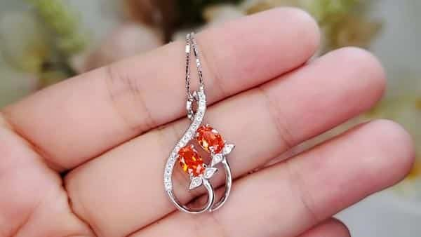 Orange Spessartite Garnet Infinity Style Pendant Necklace