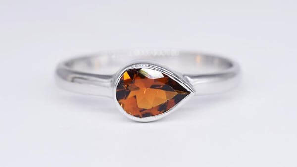Handcrafted Pear Cut Orange Tourmaline Ring in Sterling Silver