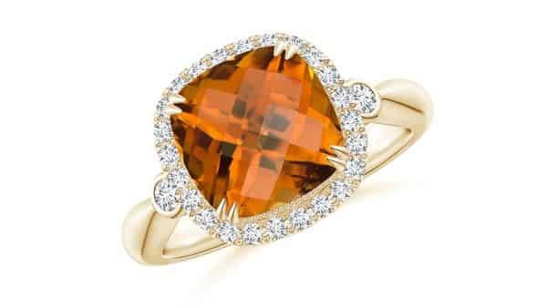 Cushion Cut Orange Zircon Ring (Yellow Gold)