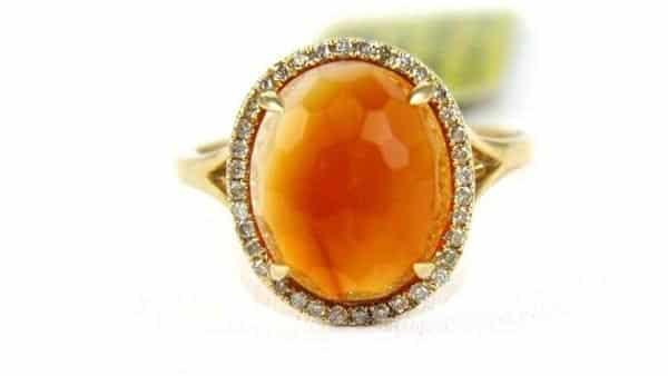 Oval Shaped Orange Carnelian Diamond Halo Ring
