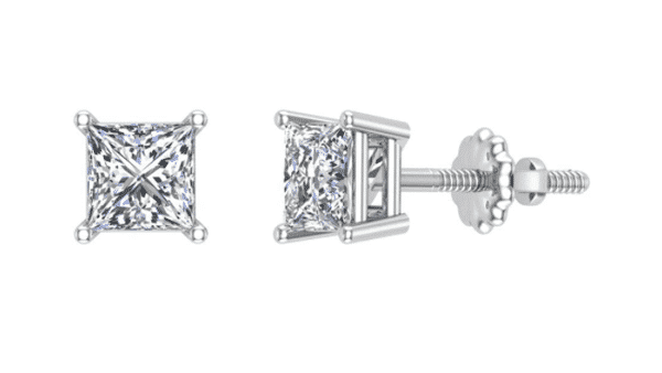 Princess-Cut Diamond Studs With Screw Backing