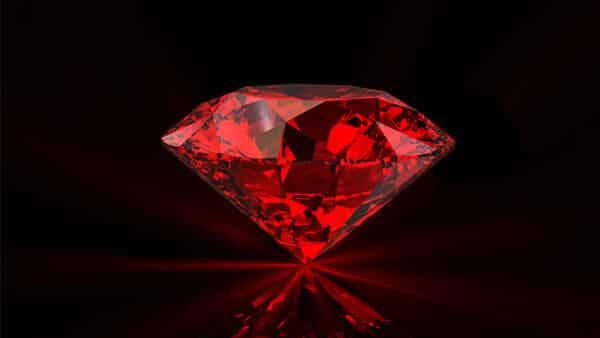 Red Diamond Gemstone on Black Background