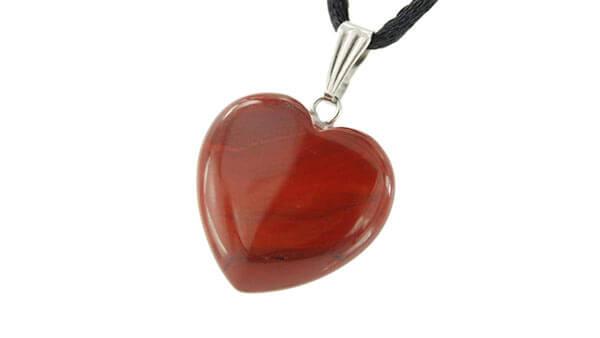 Red Jasper Pendant Necklace in Heart Shape