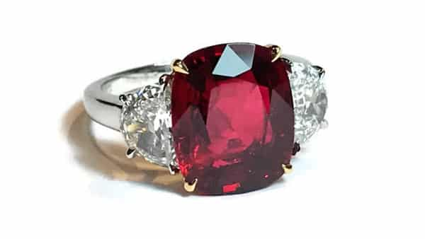 Red Spinel and Diamond Platinum Ring
