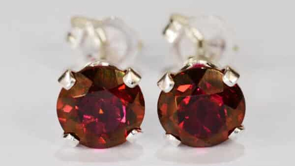Red Topaz Red Gemstone Earrings in 925 Sterling Silver