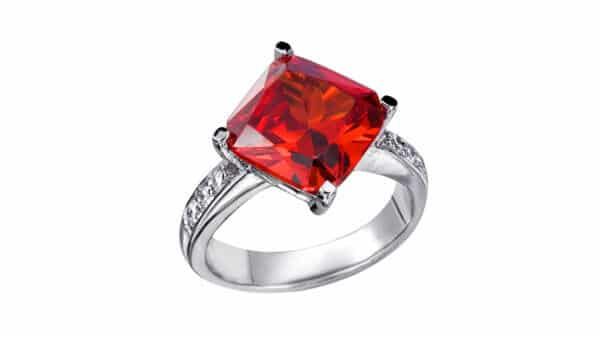 Red Zircon Solitaire Ring