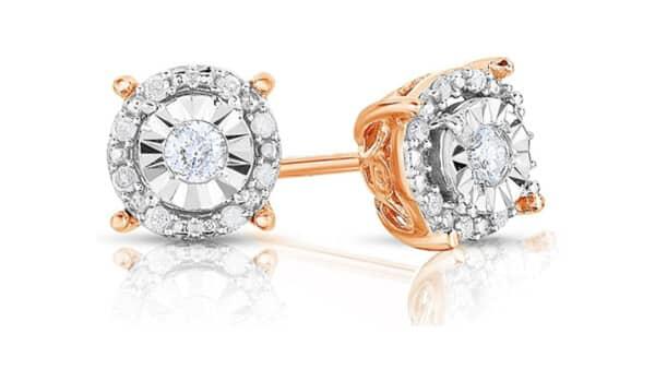 Rose Gold Plated Halo Setting Diamond Studs