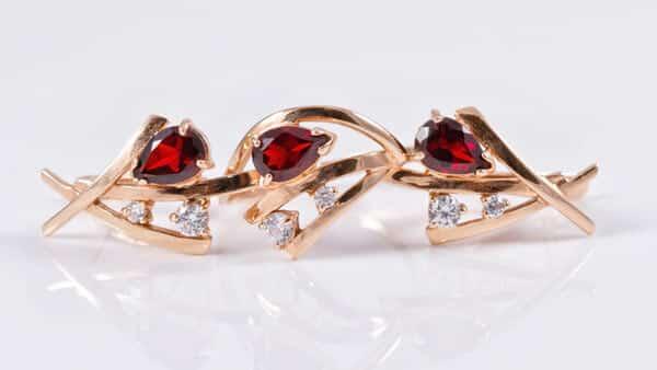 Set of Red Ruby Earrings and Rings