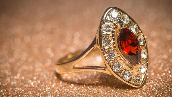 Vintage Style January Garnet Golden Ring With Diamond Accents