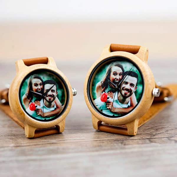 Wooden Couple Photo Watch With Leather Strap