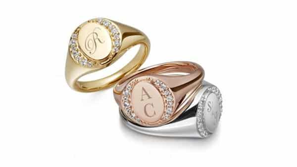 14K Gold Personalized Diamond Monogram Rings