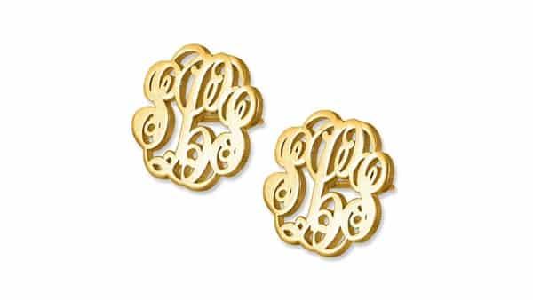Three-Letter Monogram Stud Earrings