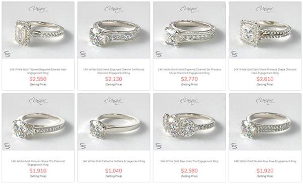 "James Allen Designer Ring Settings - the ""Unique"" Collection"