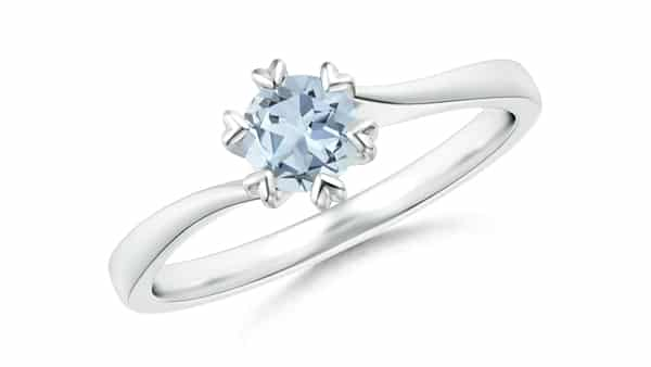 Aquamarine Solitaire Ring With Heart Prongs