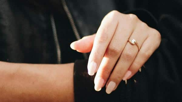 Beautiful Bride Wearing Yellow Gold Tension Diamond Ring