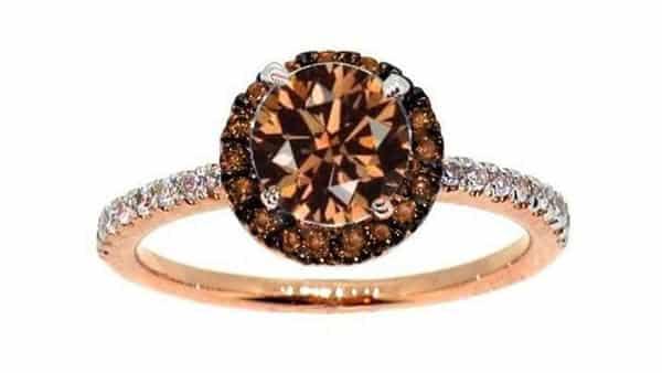 Brown Diamond Halo Style Ring
