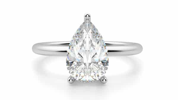 Button Prong Setting Solitaire Pear-Cut Ring