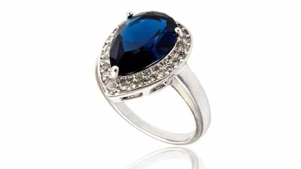 Colored Sapphire Gemstone Halo Style Ring