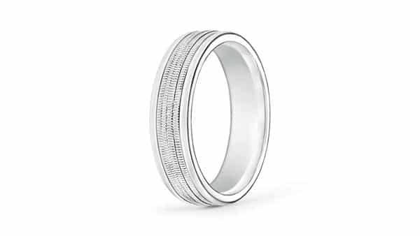 Milgrain Ring With Continuous Milgrain Strips