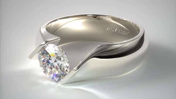 Contoured Twist Tension Setting Ring by James Allen