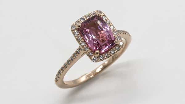 Halo Style Princess Cut Pink Sapphire Engagement Ring in Rose Gold