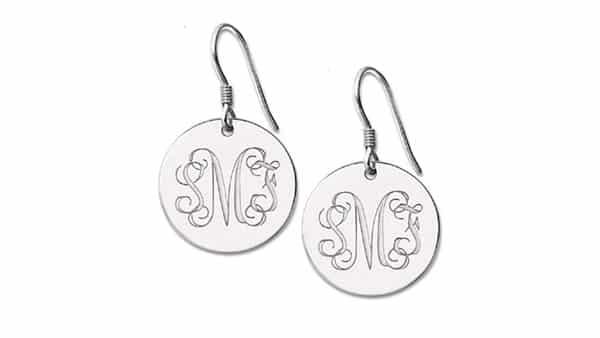 Disc-Style Monogram Drop Earrings