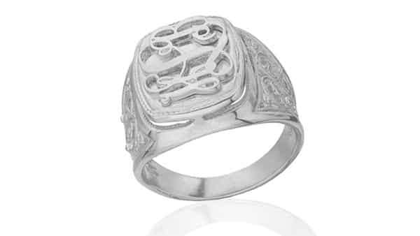 Embossed Monogram Ring With Convex Monogram on the Face