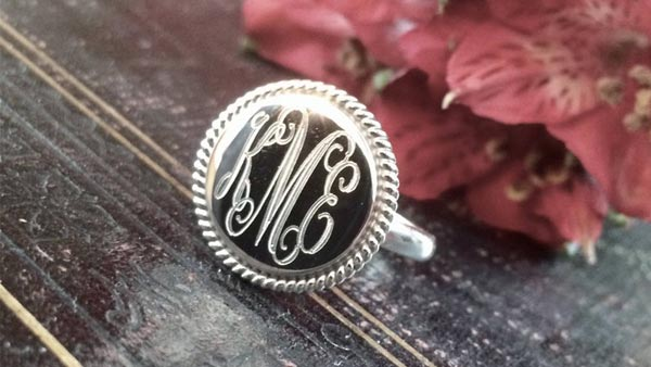 Engraved Monogram Ring With Rope Edge