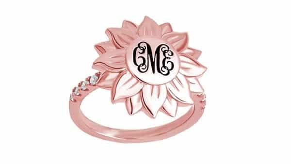 Fancy-Shaped Sunflower Monogram Ring in Rose Gold