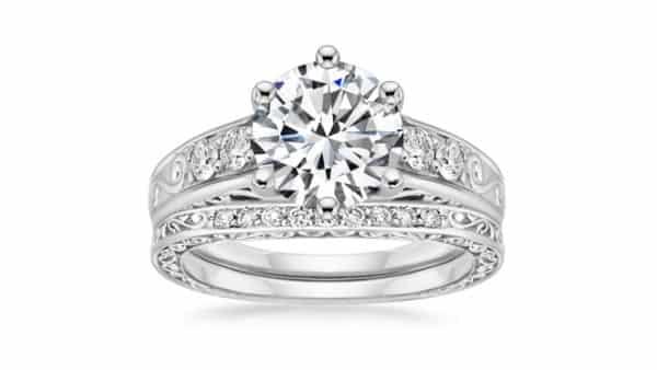 Scrollwork Filigree Matched Set Diamond Rings