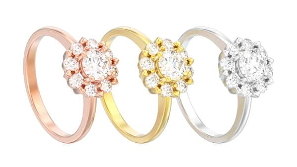 Halo Ring Setting Illustration: White, Yellow and Rose Gold