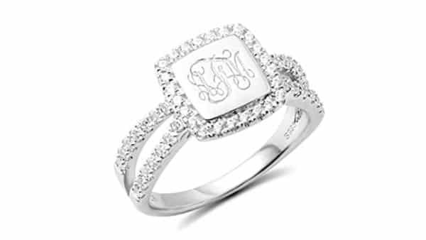 Halo-Style Monogram Ring