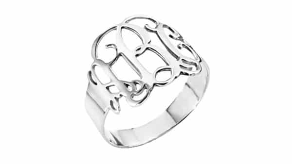 Hollow Style Monogram Ring in Sterling Silver