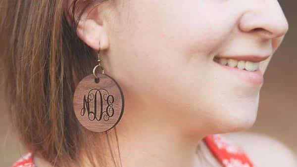 Lightweight Round Wooden Monogram Style Earrings