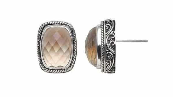 Metal-Supported Filigree Design Stud Earrings
