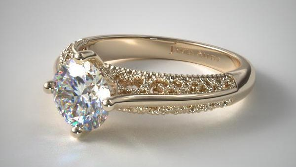 Prong Setting Engagement Ring With Milgrain and Filigree Elements