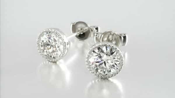 Milgrain Solitaire Diamond Stud Earrings