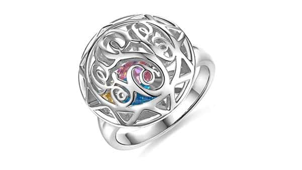 Monogram Cage Ring With Birthstones Inside