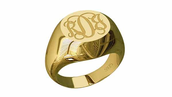 Monogram Signet Ring in Yellow Gold Plated Sterling Silver
