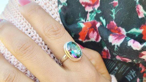 Mystic Quartz Silver Ring
