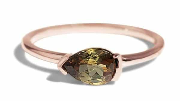 Pear-Shaped Brown Tourmaline Ring in Semi-Bezel Setting