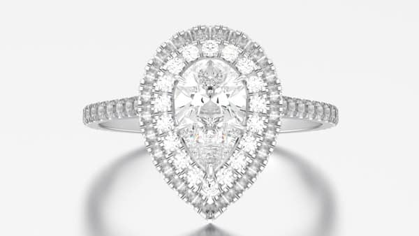 Pear-Shaped Double Halo Style Ring
